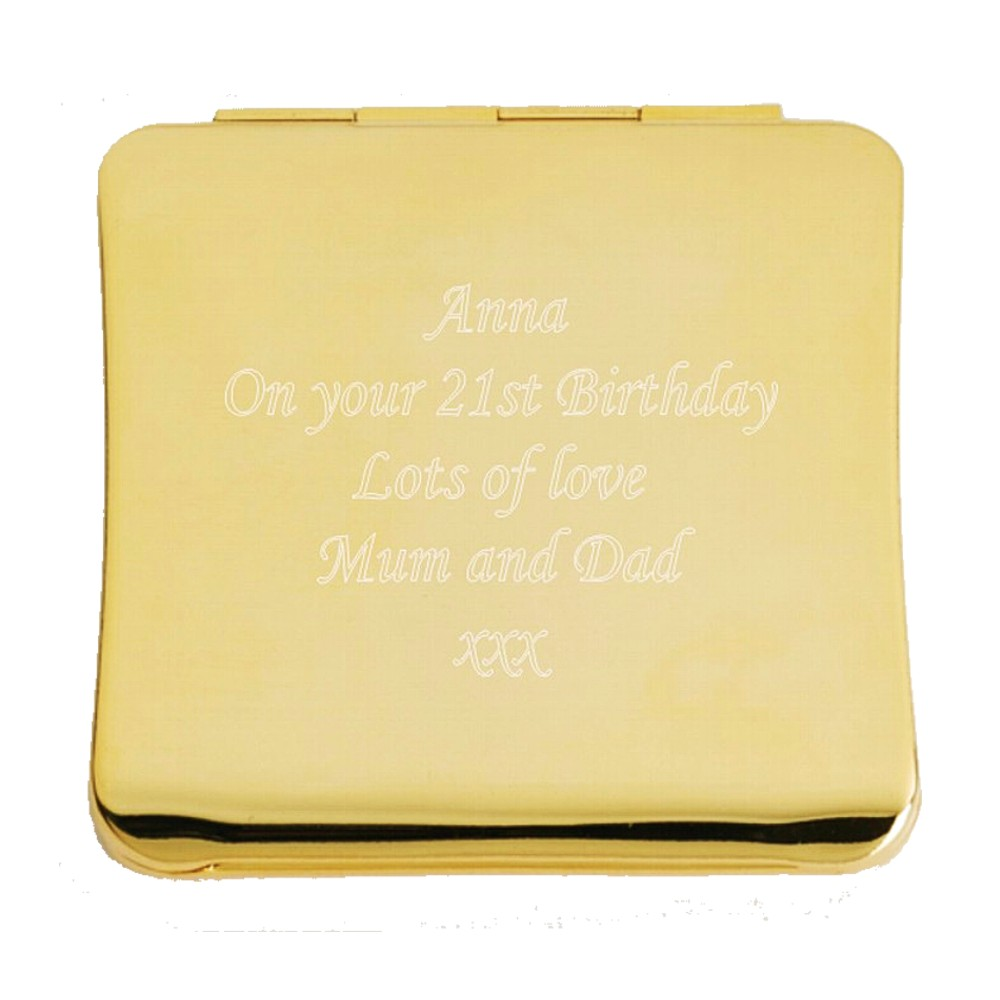 Personalised Engraved Gold Square Mirror