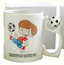 Personalised White Mug with Football Handle