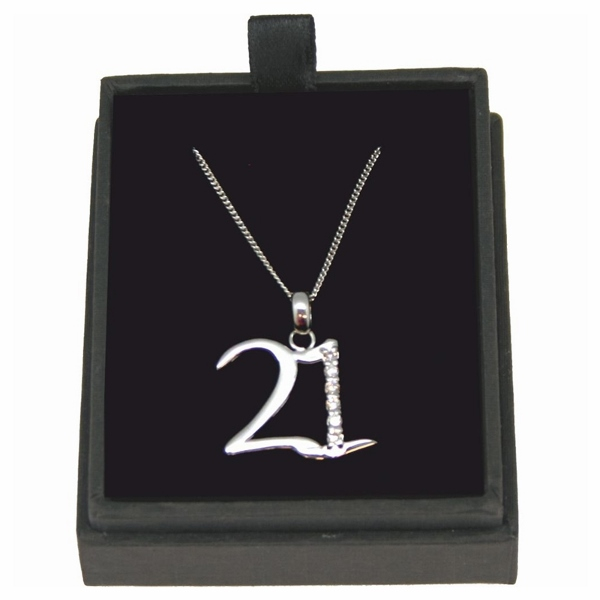 21st Birthday Necklace with Personalised Gift Box