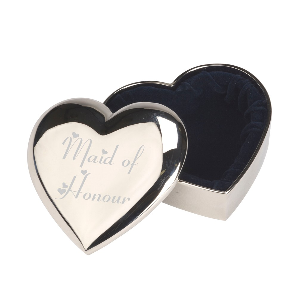 Engraved Maid Of Honour Heart Trinket Box