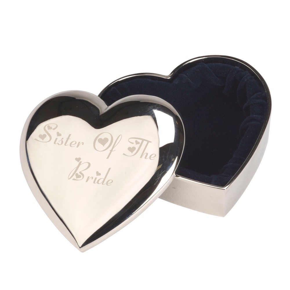 Engraved Sister Of The Bride Heart Trinket Box