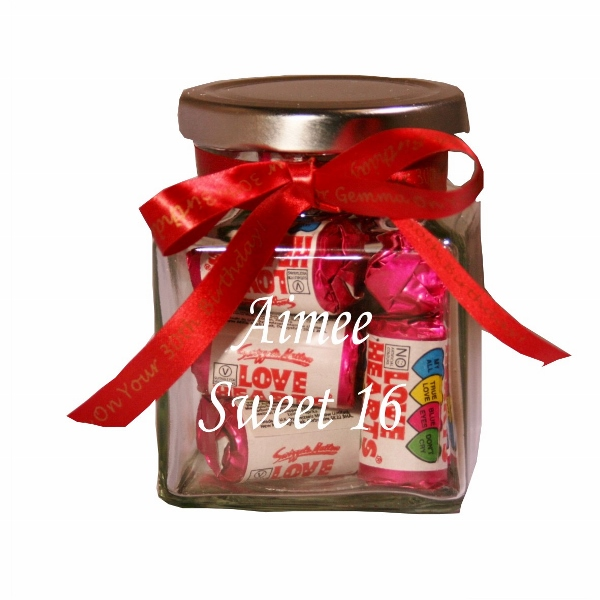 Engraved Love Hearts Glass Sweet Jar