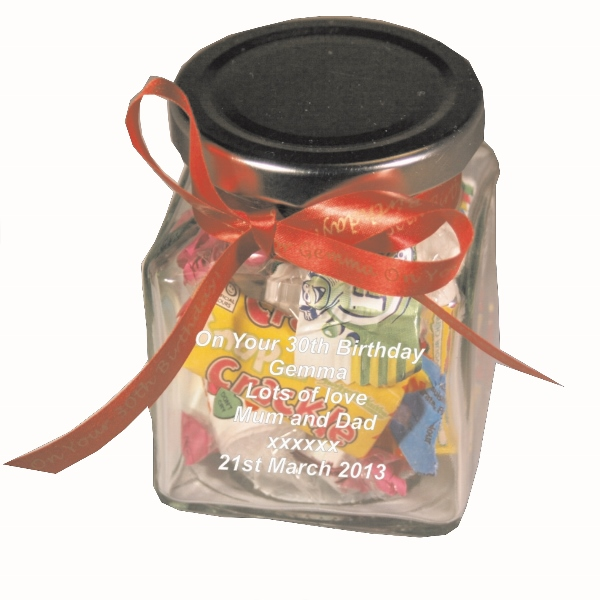 Engraved Variety Mix Glass Sweet Jar