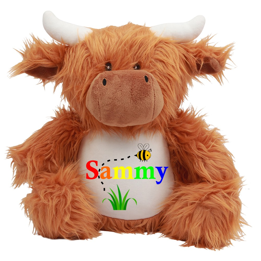 Personalised Embroidered Cuddly Highland Cow