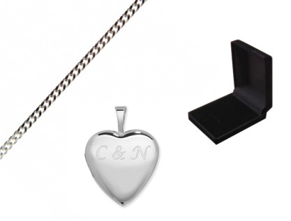 Engraved Silver Heart Locket with Gift Box