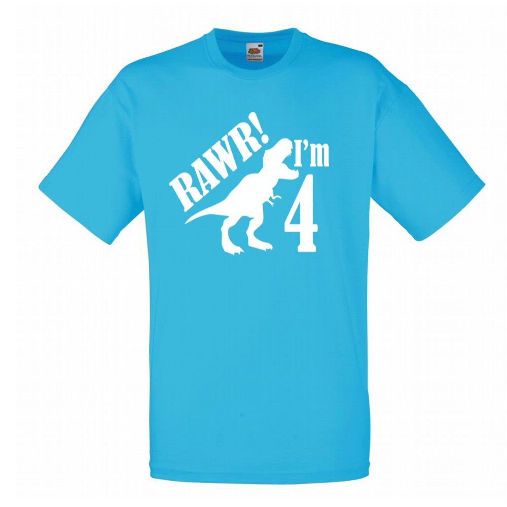 Personalised RAWR Dinosaur Children's Birthday T-shirt