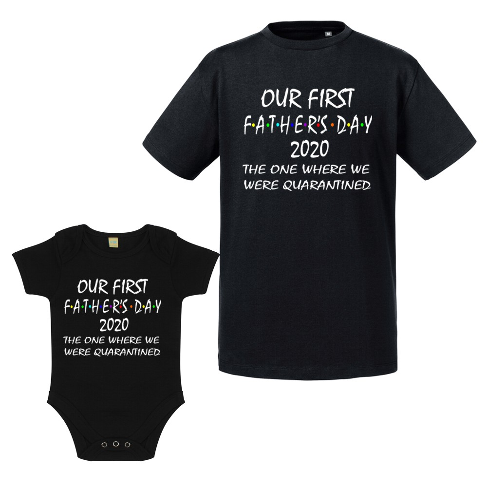 Personalised Black Quarantined 1st Father's Day T-shirt/Vest Set