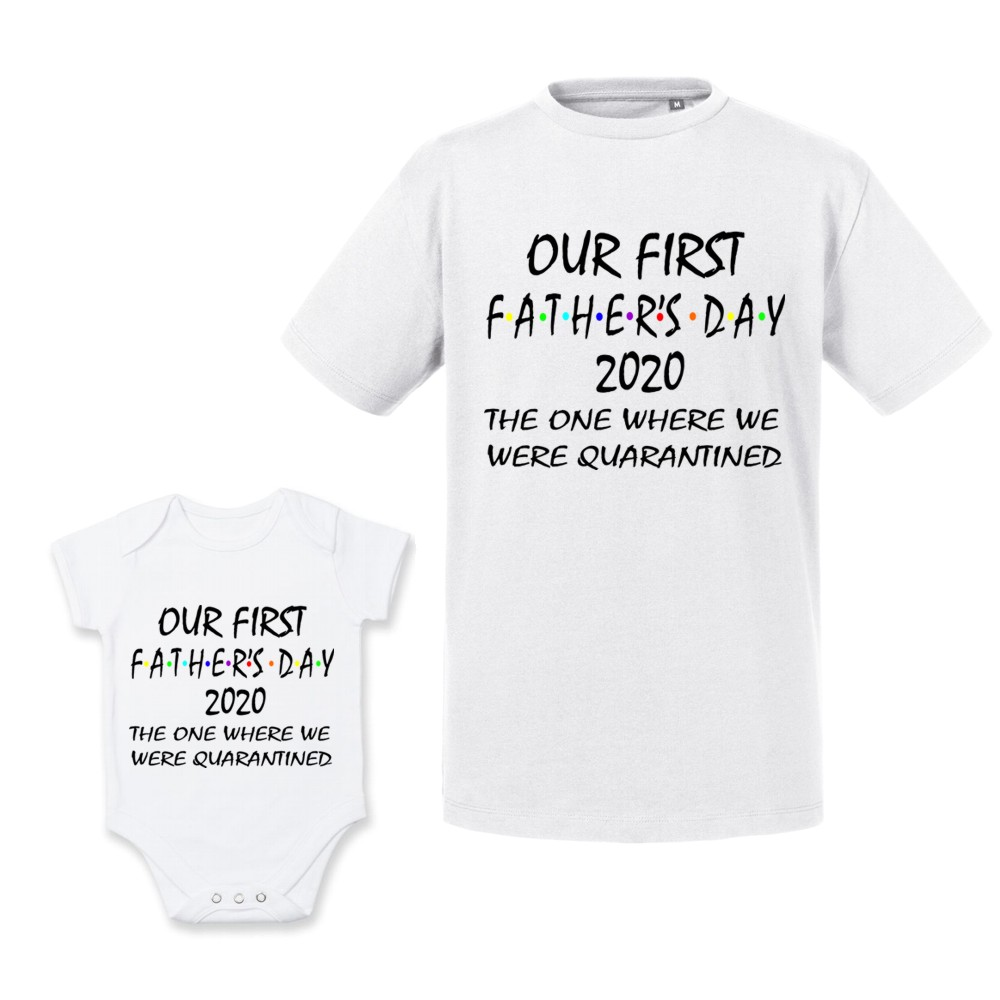 Personalised White Quarantined 1st Father's Day T-shirt/Vest Set