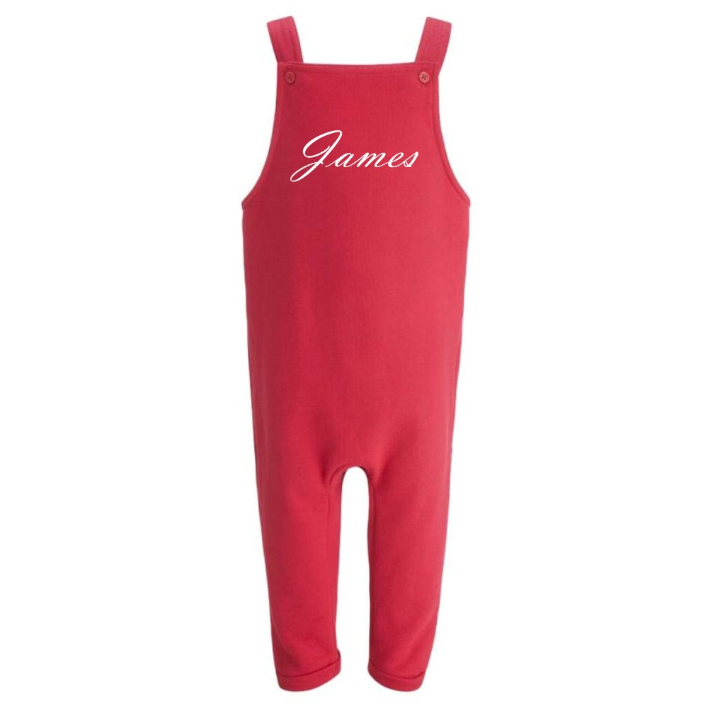 Embroidered Children's Red Dungarees
