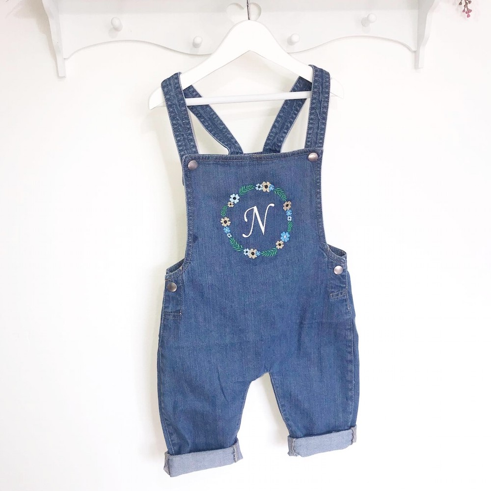 Personalised Floral Border Childrens Denim Dungarees