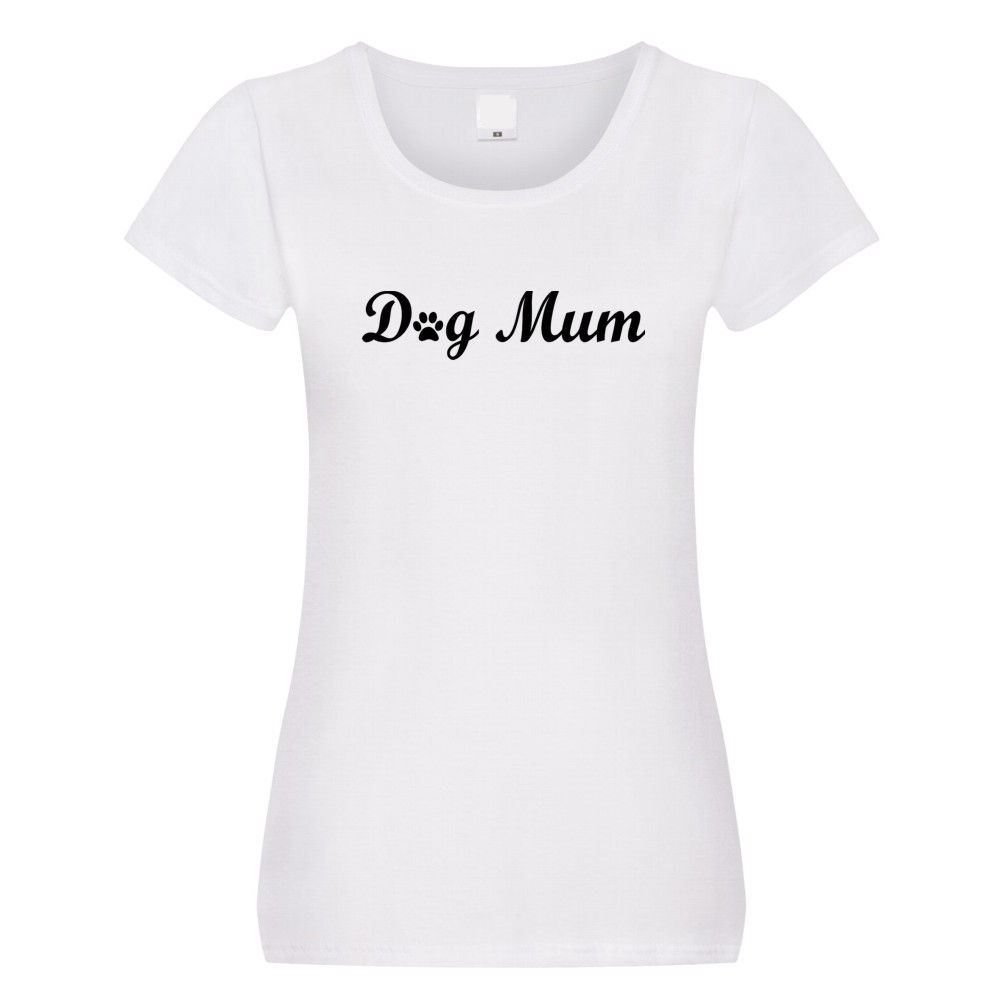 Ladies Dog Mum Paw Print T-shirt