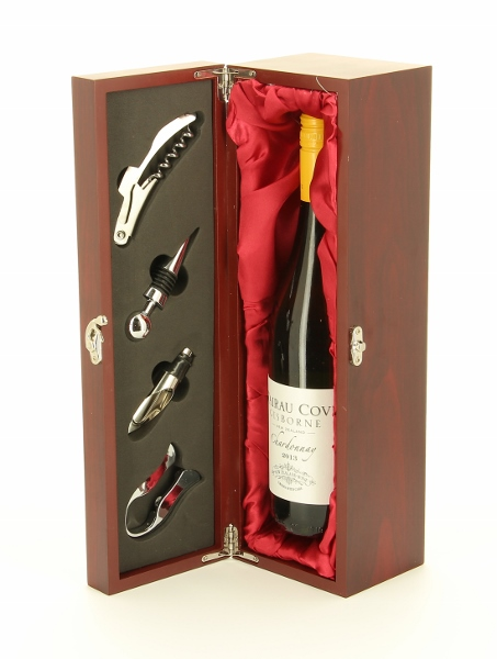 Engraved Rosewood Finish Wine Champagne Box Set