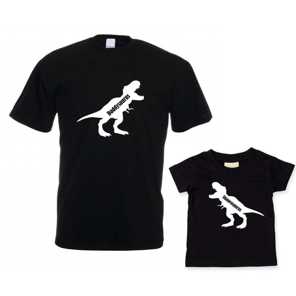 Personalised Daddy and Me Daddysaurus T-shirt Set