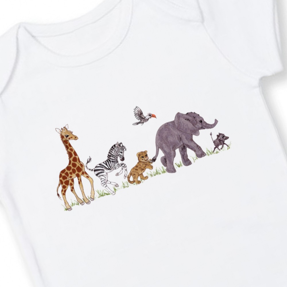 Personalised Jungle Safari Baby Bodysuit Range