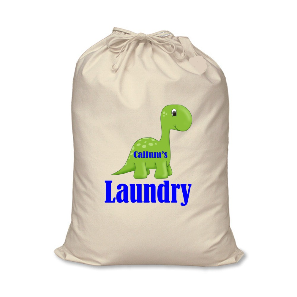 Personalised Canvas Dinosaur Laundry Bag
