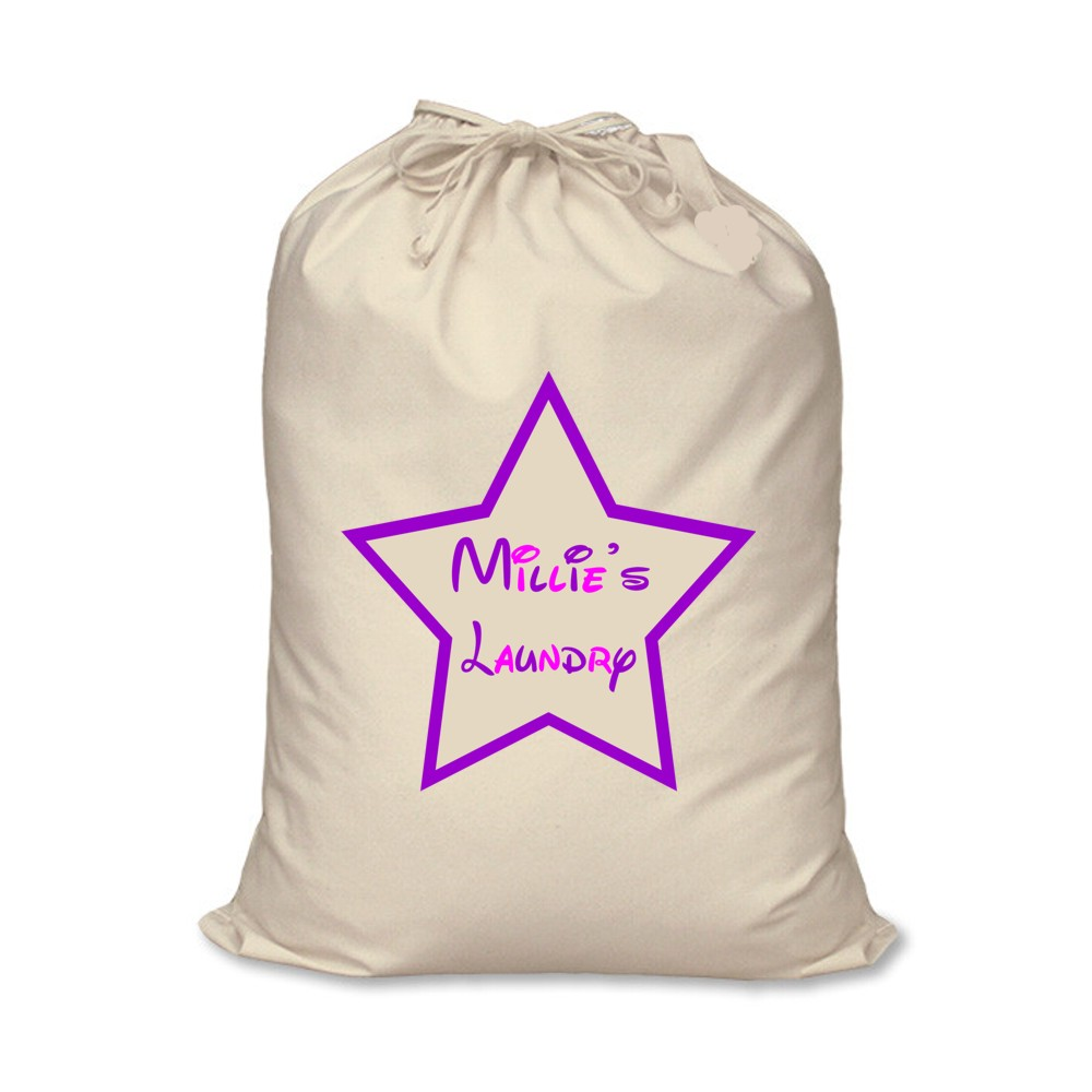 Personalised Canvas Star Laundry Bag