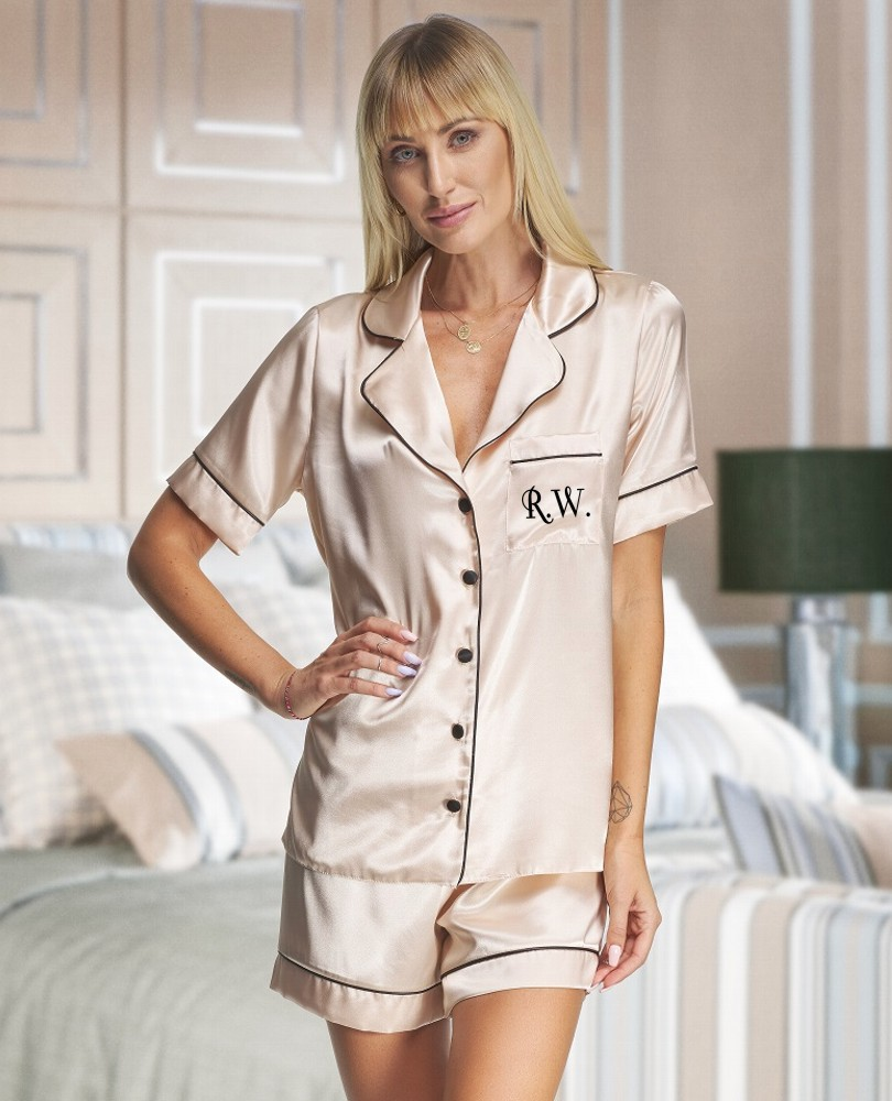 Personalised Ladies Champagne Satin Short Pyjamas