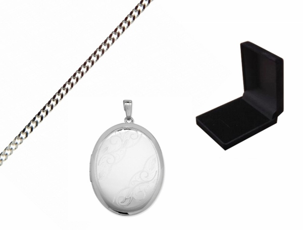 Engraved Oval Swirl Locket with Gift Box