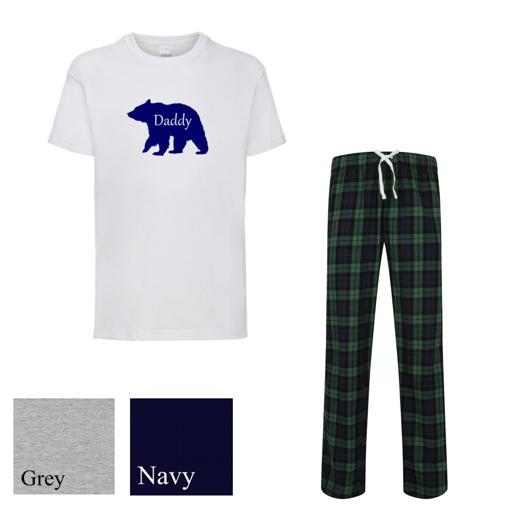 Personalised Mens Papa Bear Tartan Pyjamas