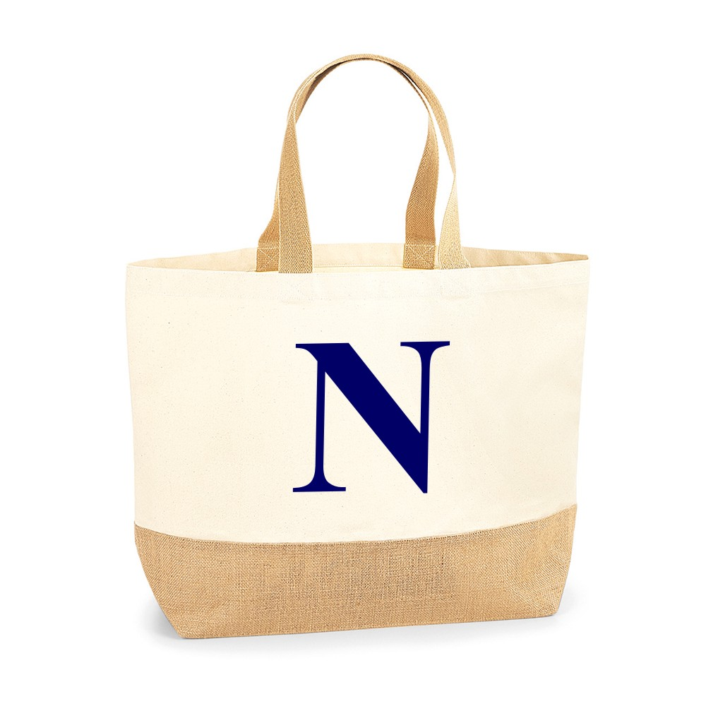 Personalised Initial Jute Base Canvas Tote Bags