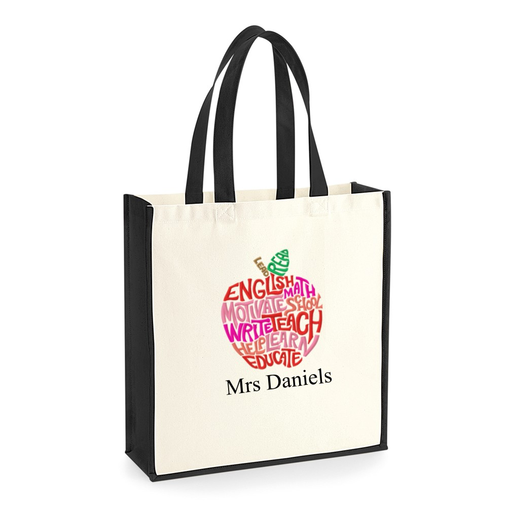 Personalised Thank You Teacher Apple Canvas Tote Bags