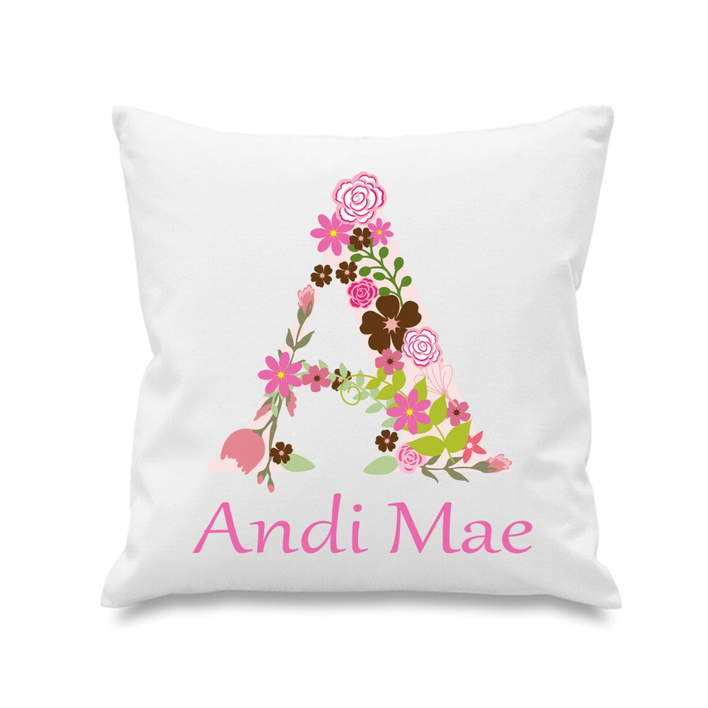 Personalised Floral Name Cushion