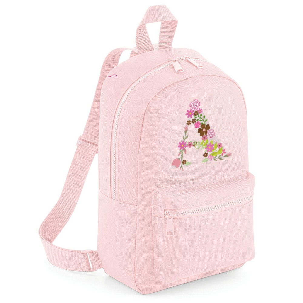 Personalised Embroidered Floral Initial Backpack