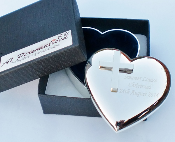 Engraved Heart Trinket Box with Cross Embellishment