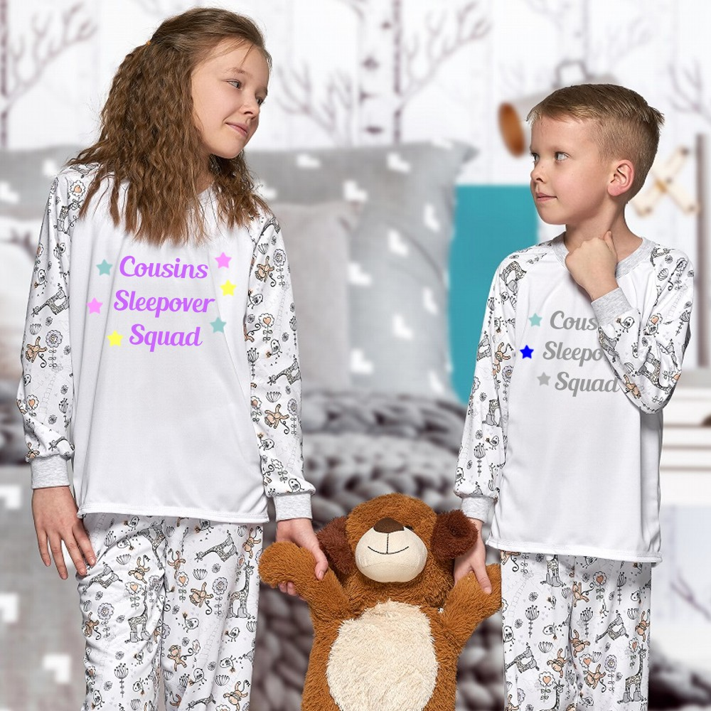 Personalised Childrens Cousin Sleepover Squad Matching Pyjamas