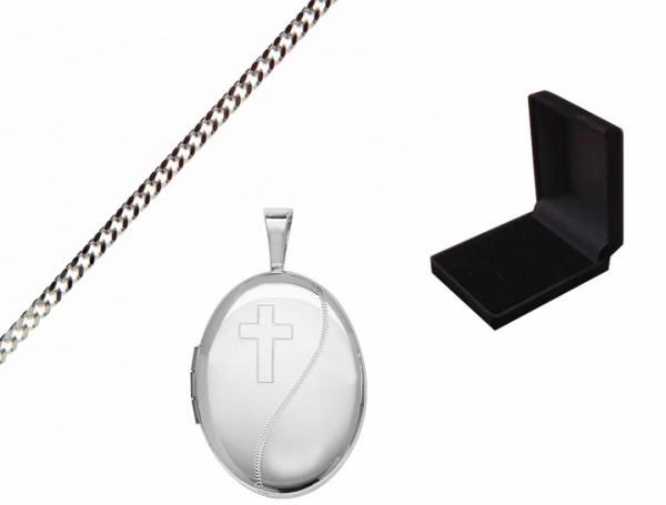 Engraved Oval Cross Locket with Gift Box