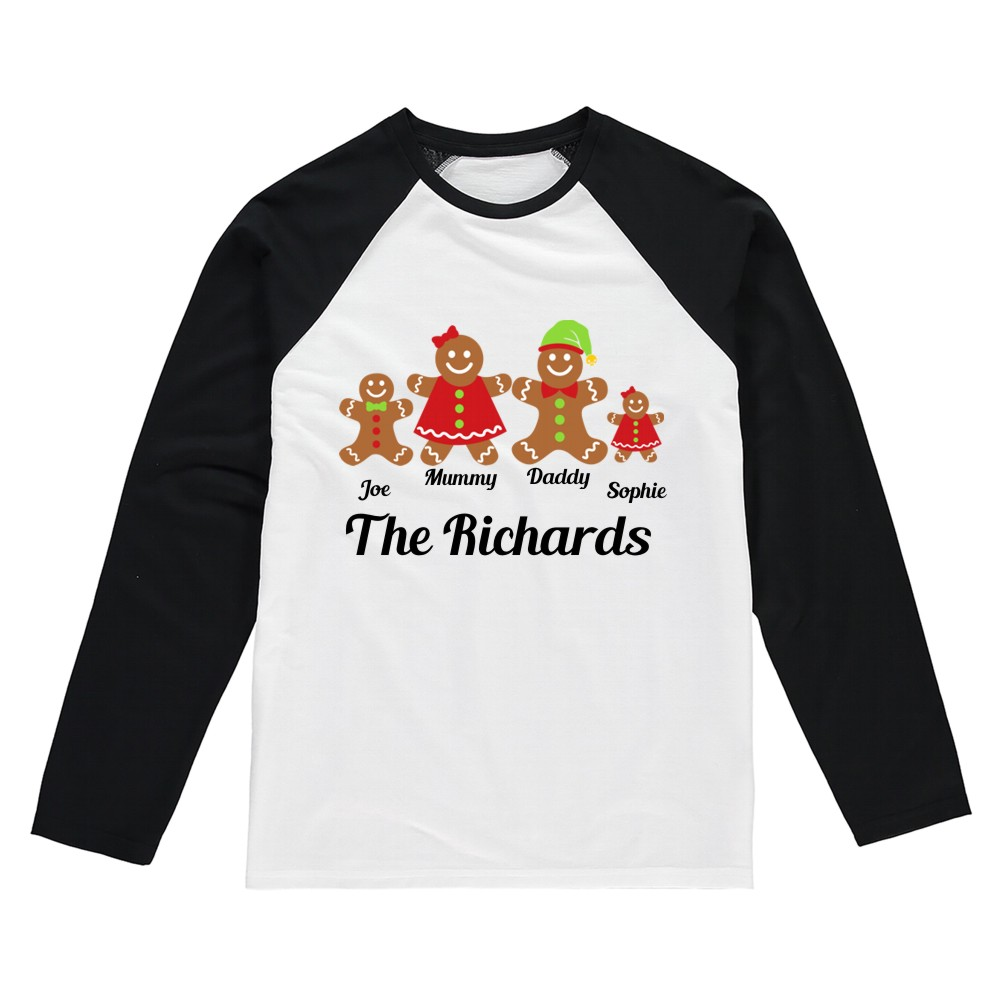 Personalised Gingerbread Family Christmas T-shirts