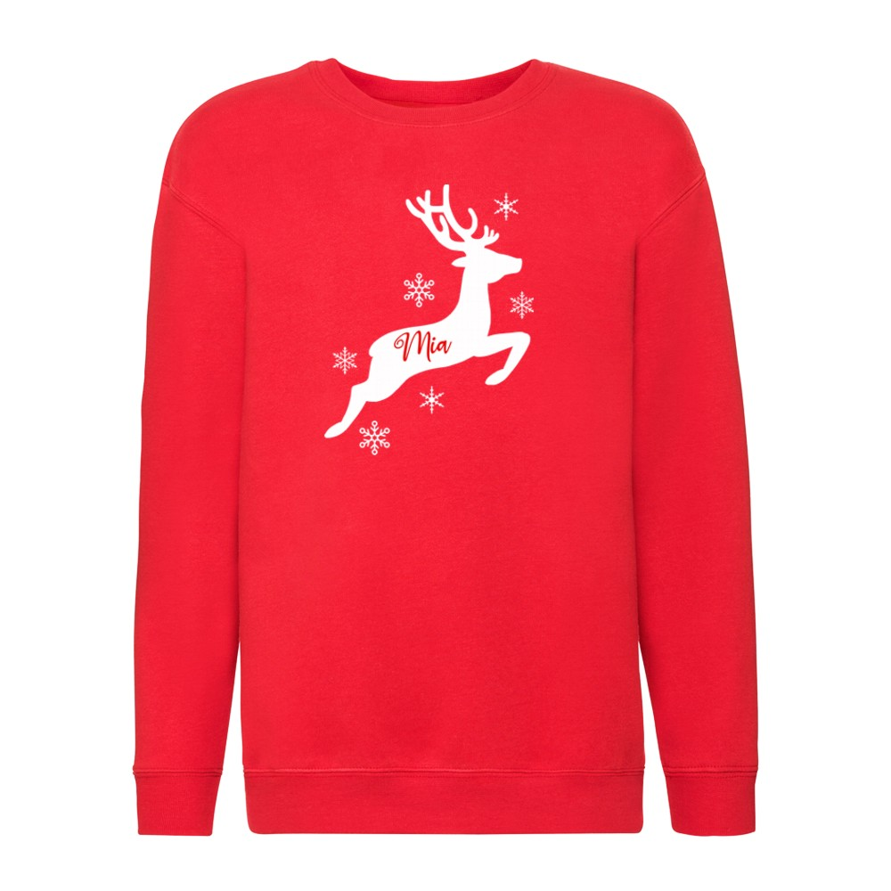 Personalised Childrens Family Matching Christmas Reindeer Jumpers