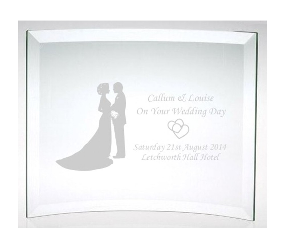 Engraved On Your Wedding Day Glass Plaque