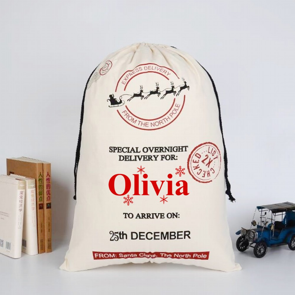 Personalised Special Overnight Delivery Christmas Sack