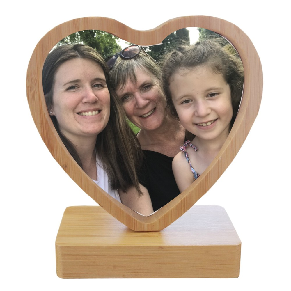 Personalised Bamboo Revolving Heart Photo Frame