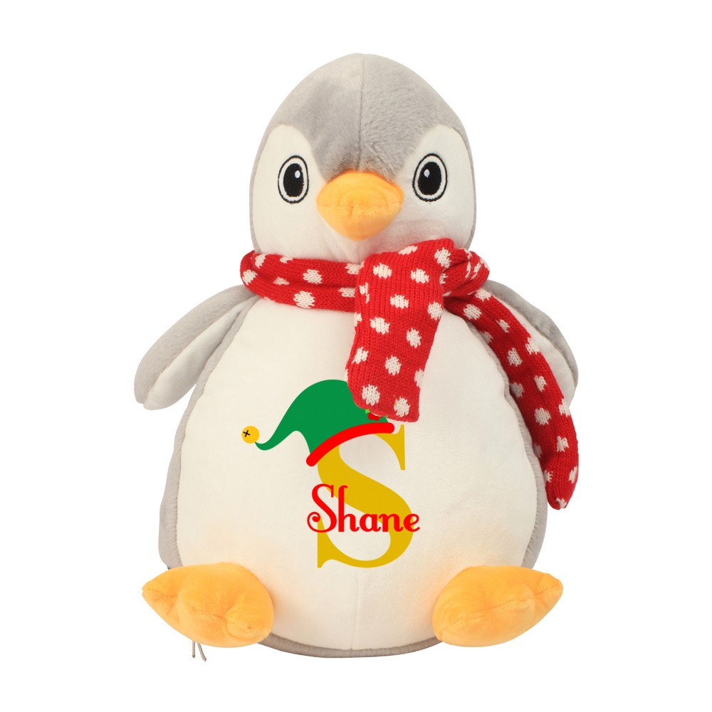 Personalised Plush Cuddly Christmas Penguin Teddy