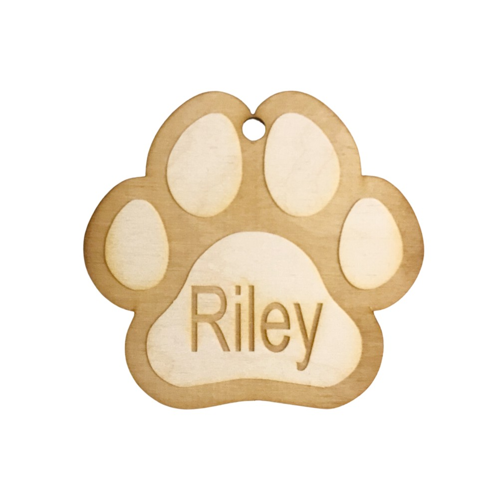 Personalised Wooden Paw Print Christmas Tree Decoration