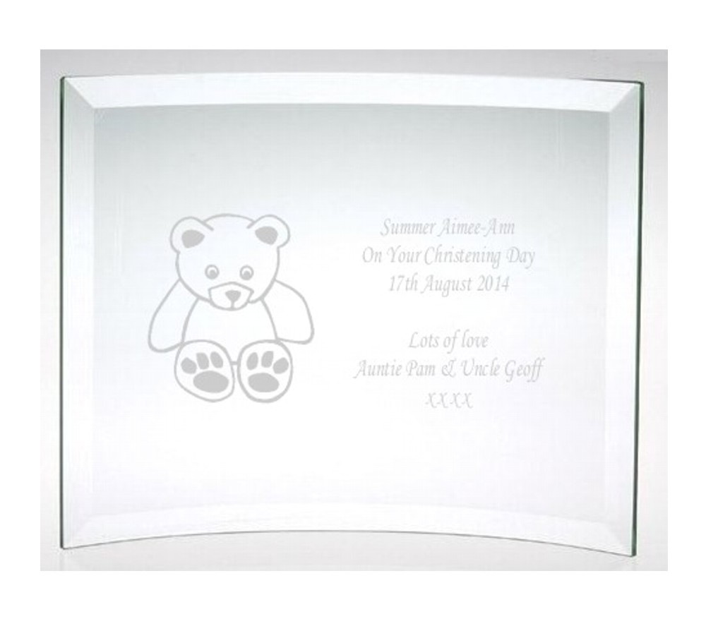 Engraved Christening Teddy Bear Glass Plaque