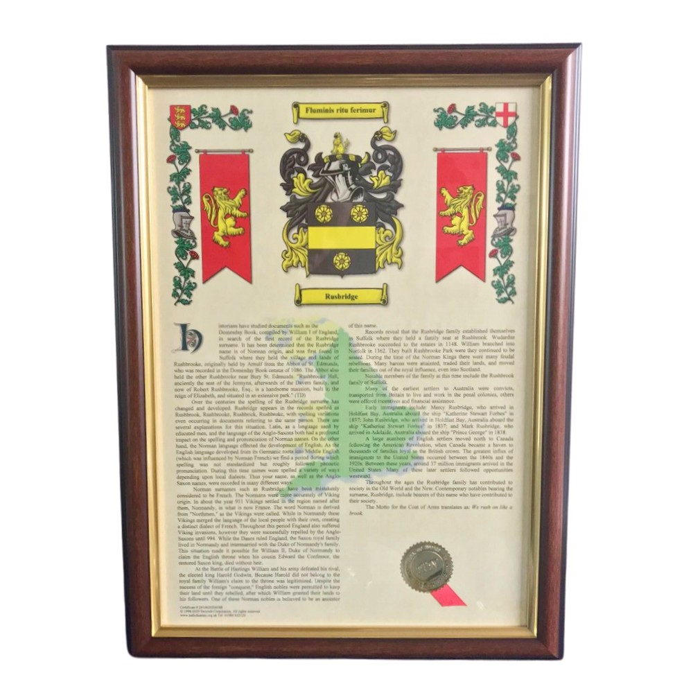 Coat of Arms and Surname History Frame