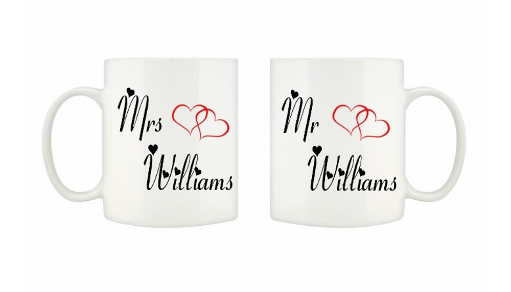 Personalised Mr & Mrs White Mugs