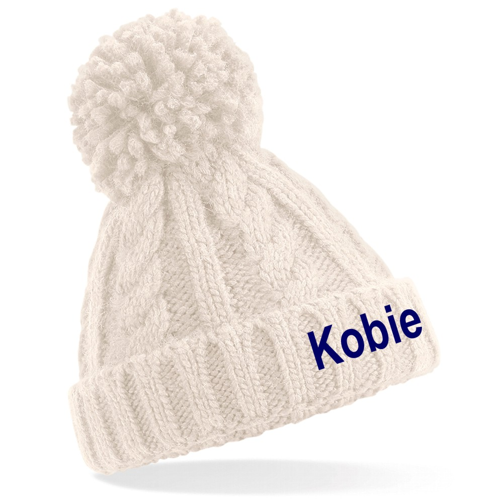 Embroidered Childrens Bobble Beanie Hat