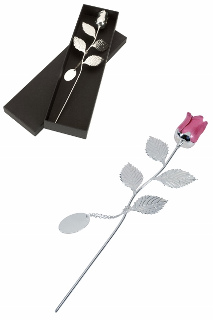 Engraved Silver Plated Pink Rose with Gift Box