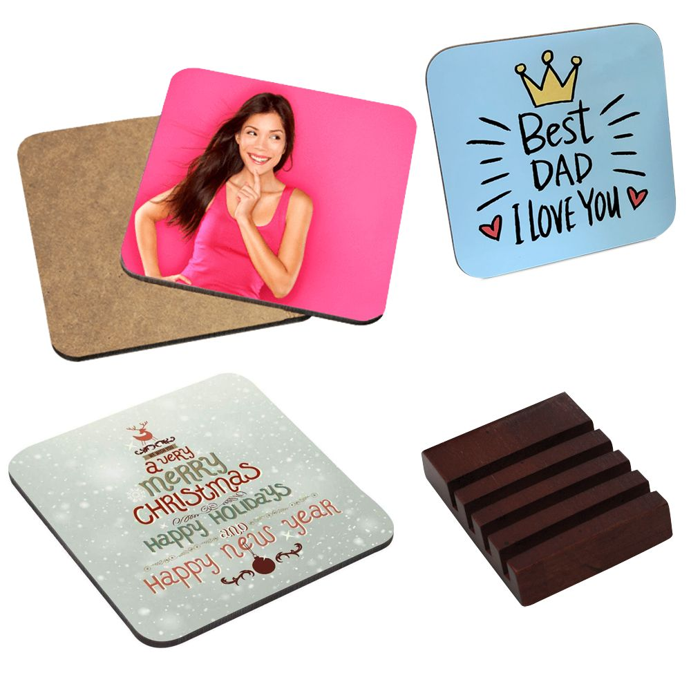 Personalised Set of 4 Square Wooden Coasters