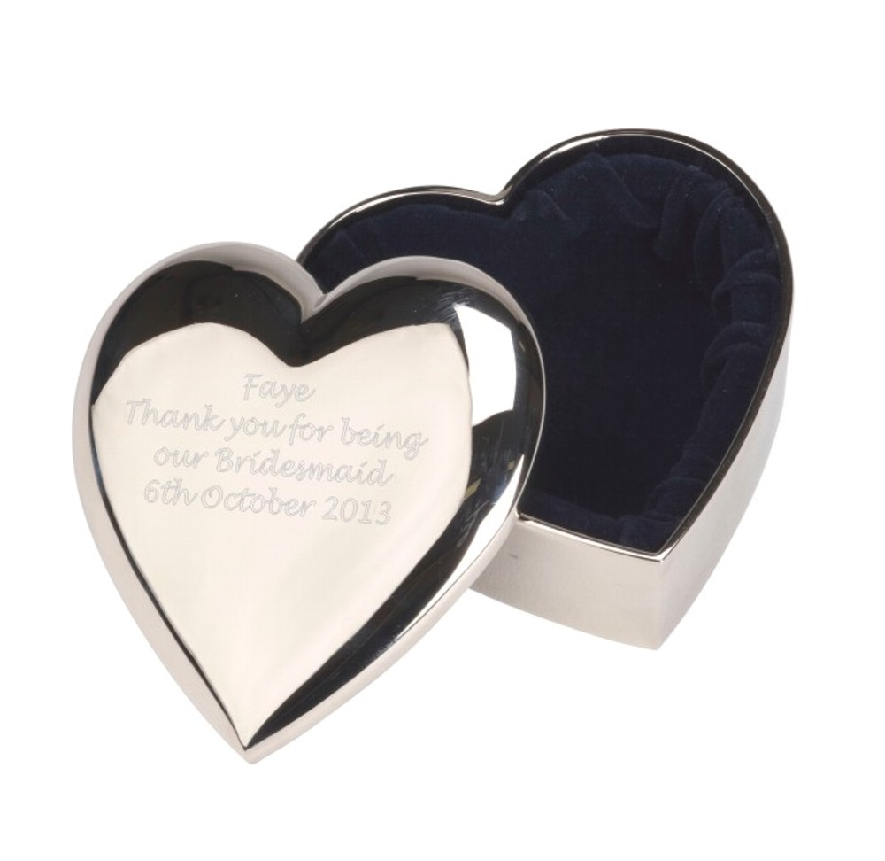 Personalised Engraved Heart Trinket Box