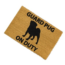 Guard Pug On Duty Doormat